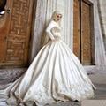 Vestido Noiva Muslim Wedding Dress 2017 Long Sleeves Appliqued Wedding Gown Satin Ball Gown Wedding Dresses Robe De Mariage