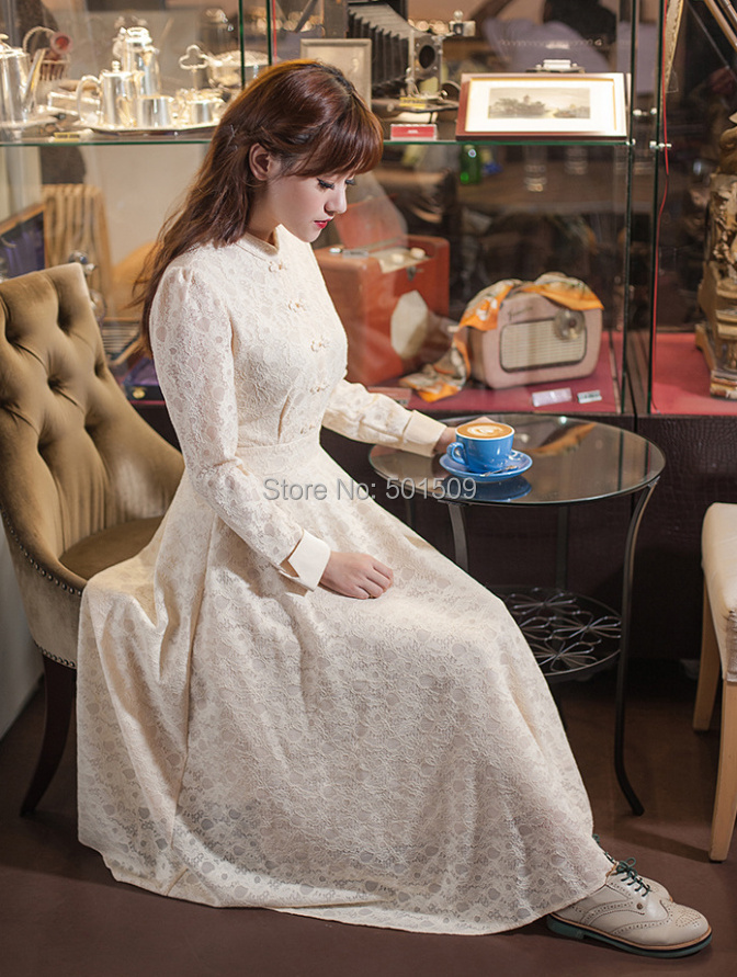full sleeve lace embroidery long medieval dress Renaissance Gown princess Victorian dress Gothic /Marie Antoinette