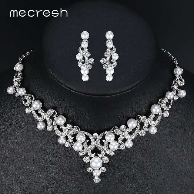 Mecresh Trendy Simulated Pearl Bridal Jewelry Sets Plant Crystal Necklace 2017 Hot Wedding Engagement