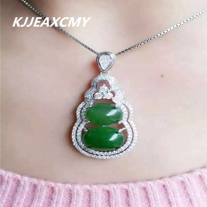 KJJEAXCMY boutique jewelry,925 sterling silver inlaid with natural Xinjiang Hetian jade pendant, gourd type jade ornaments femal selling jewelry xinjiang hetian jadeite jadeite overlord pendant natural jadeite men 18 arhat necklace pendant