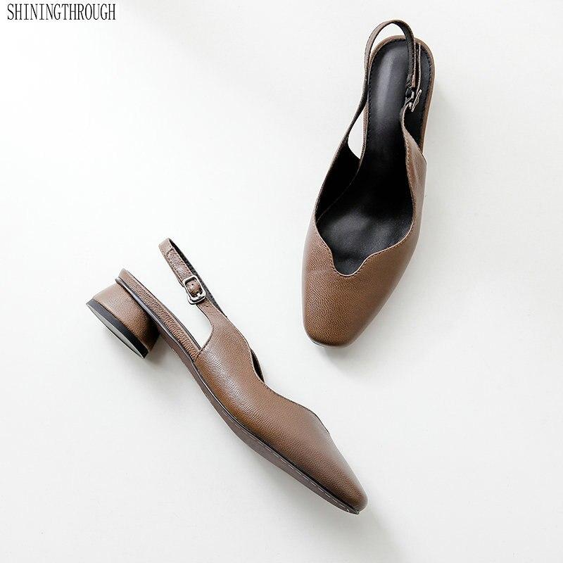2019 nuevos zapatos de cuero genuino sandalias de mujer 3 cm tacones bajos cómodos vestido de fiesta de verano mather zapatos talla grande 41-in Sandalias de mujer from zapatos    1