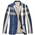 M-3xl dos homens de negócios slim fit jaqueta blazer xadrez inglaterra gentle qualidade casaco ternos dos homens clássico de alta qualidade frete grátis