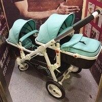 Бренд Детские свет большой Twin коляска может сидеть, лежать, спереди и сзади Складной, высокая Пейзаж высокого класса двойной тележка