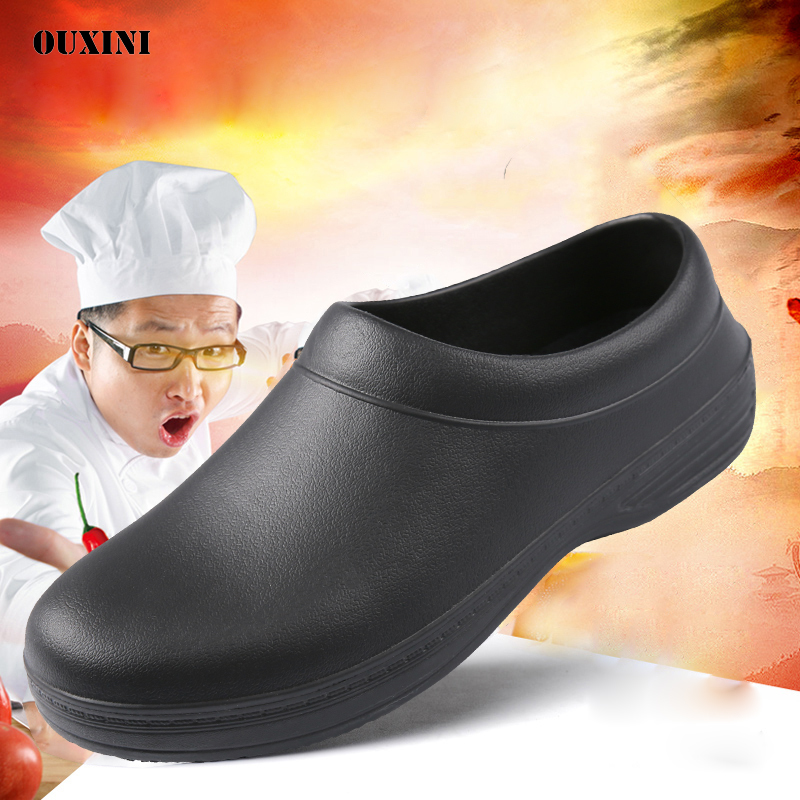 Chef Shoes Non-slip Waterproof Oil-proof Black Safety Kitchen Work Shoes Hotel Restaurant Cook Work Shoes