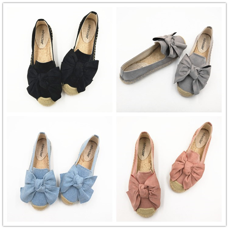 Women's Espadrille Bow Shoes Comfortable Slippers Ladies Womens Casual Shoes Breathable Flax Hemp Canvas Blue Big Size