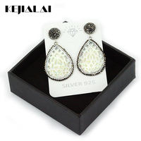Fashion Shell Pearl Earrings Hollow Out Shell Pendant Pave Black White Rhinestone Drop Earrings For Women