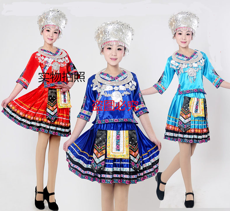 Chinese Collar Long Suit Limited Hot Sale Polyester Disfraces Hmong Clothes Ancient Costume Zhuang Nationality For Girl