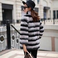 Новый Зимний Настоящий мех кролика пальто для женщин вся кожа женская меховая куртка натуральная меховая шуба