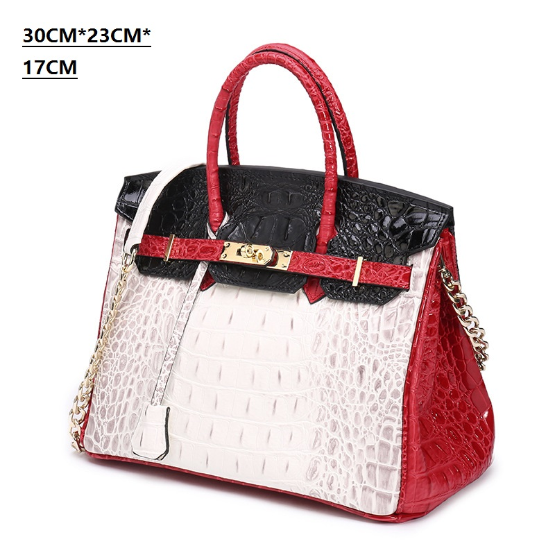 Best-selling new high-quality spliced platinum bag fashion single shoulder diagonal crocodile pattern leather Lady Bag HandbagBest-selling new high-quality spliced platinum bag fashion single shoulder diagonal crocodile pattern leather Lady Bag Handbag