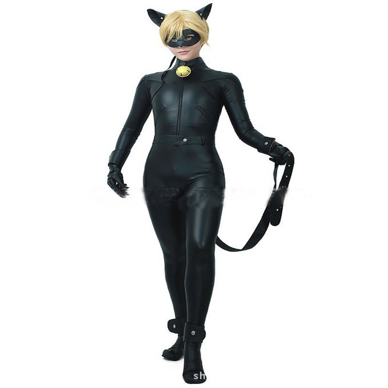 kids boy miraculous ladybug costume cat noir with mask. Black Bedroom Furniture Sets. Home Design Ideas