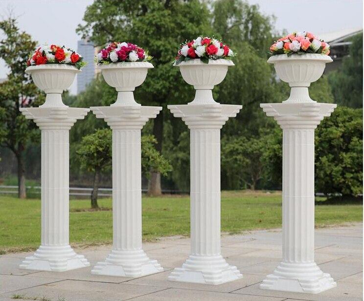 fashion 2016 decorative roman columns white color plastic pillars road cited wedding props 4pcslot - Decorative Columns