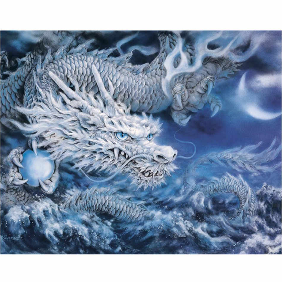 WEEN DIY Oil Painting, paint by number kit, Acrylic Painting for Kids & Adults, Modern Wall Art Picture 16x20inch-Water dragon