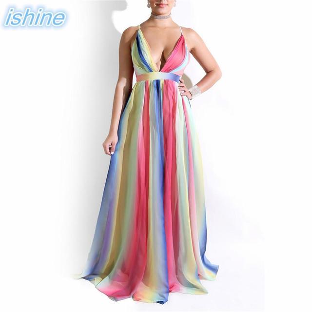 f4f832431390 Sexy Deep V Backless Club Dress Spaghetti Straps Rainbow Stripes Gradient  Party Dress Chiffon Maxi Gown