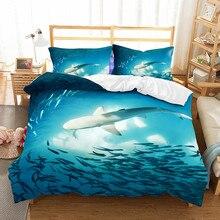 WINLIFE 3D Bed Cover Designs with Pillow Shams Shark Duvet Sea Ocean Life Animals Marine Theme Image