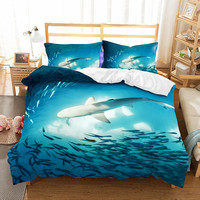 WINLIFE 3D Bed Cover Designs with Pillow Shams Shark Duvet Cover Sea Ocean Life Animals Marine Theme Image