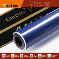 Profonde bleu 5D brillant réel en fiber de carbone vinyle texture sergé semaine carbone film pare-chocs autocollants decal