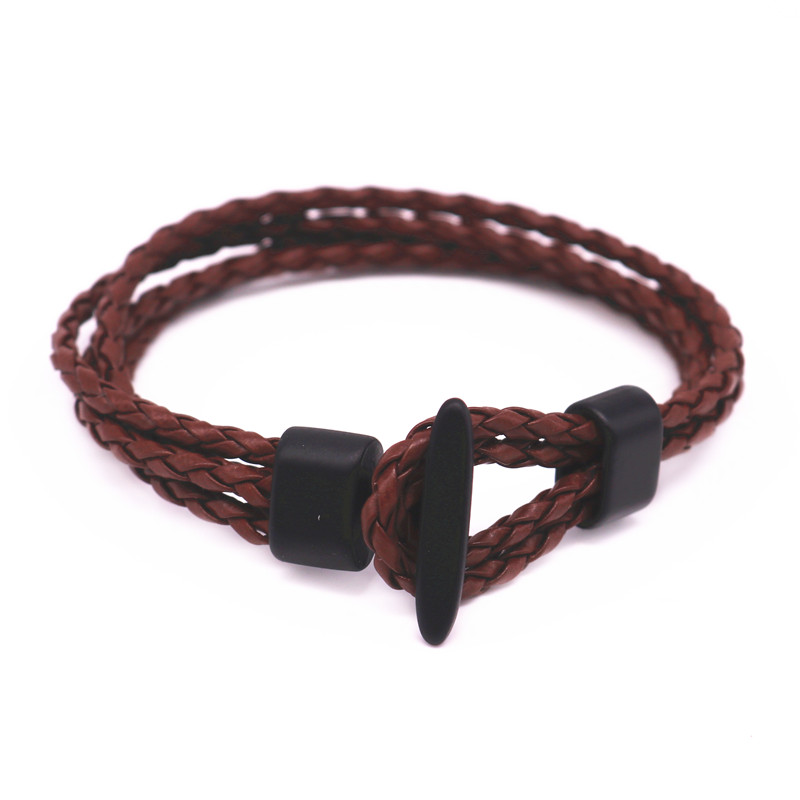 2016 New arrival 2 Strand Braided Rope Black Surf Lariat Coffee Leather Bracelet Mens Womens Gift