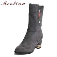 Meotina Mid Calf Boots Women Shoes Winter Tassel Chunky High Heel Boots Glitter Med Heel Ladies Boots Gray Brown Big Size 33 43