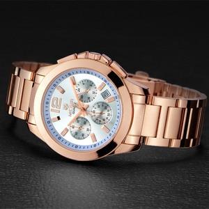 Image 2 - MEGIR הכרונוגרף נשים שעון יוקרה למעלה מותג תאריך שעונים פלדת רצועת קוורץ תאריך גבירותיי שעון מאהב מתנה נשי שעון תיבה 5006