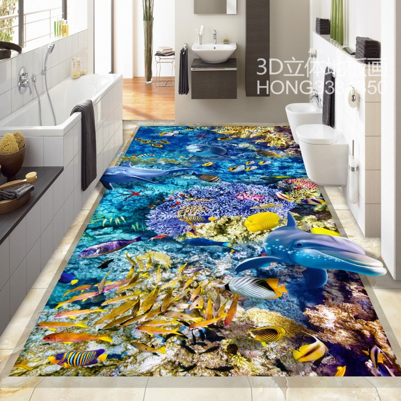 Free Shipping HD Sea World 3D dolphin floor painting self-adhesive bedroom bathroom living room coffee house flooring mural free shipping marble texture parquet flooring 3d floor home decoration self adhesive mural baby room bedroom wallpaper mural