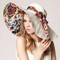 Анти-уф дамы лето широкими полями шляпы Hoeden дам Zomer быстросохнущие женщин-бич шляпы для женщин открытый складной женский шляпа солнца