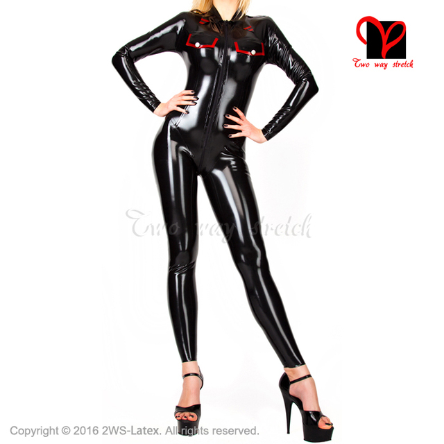 Sexy military suit front zipper with pocket flap Rubber Catsuit long sleeves Jumpsuit Unitard overall BodySuit zentai LT-055