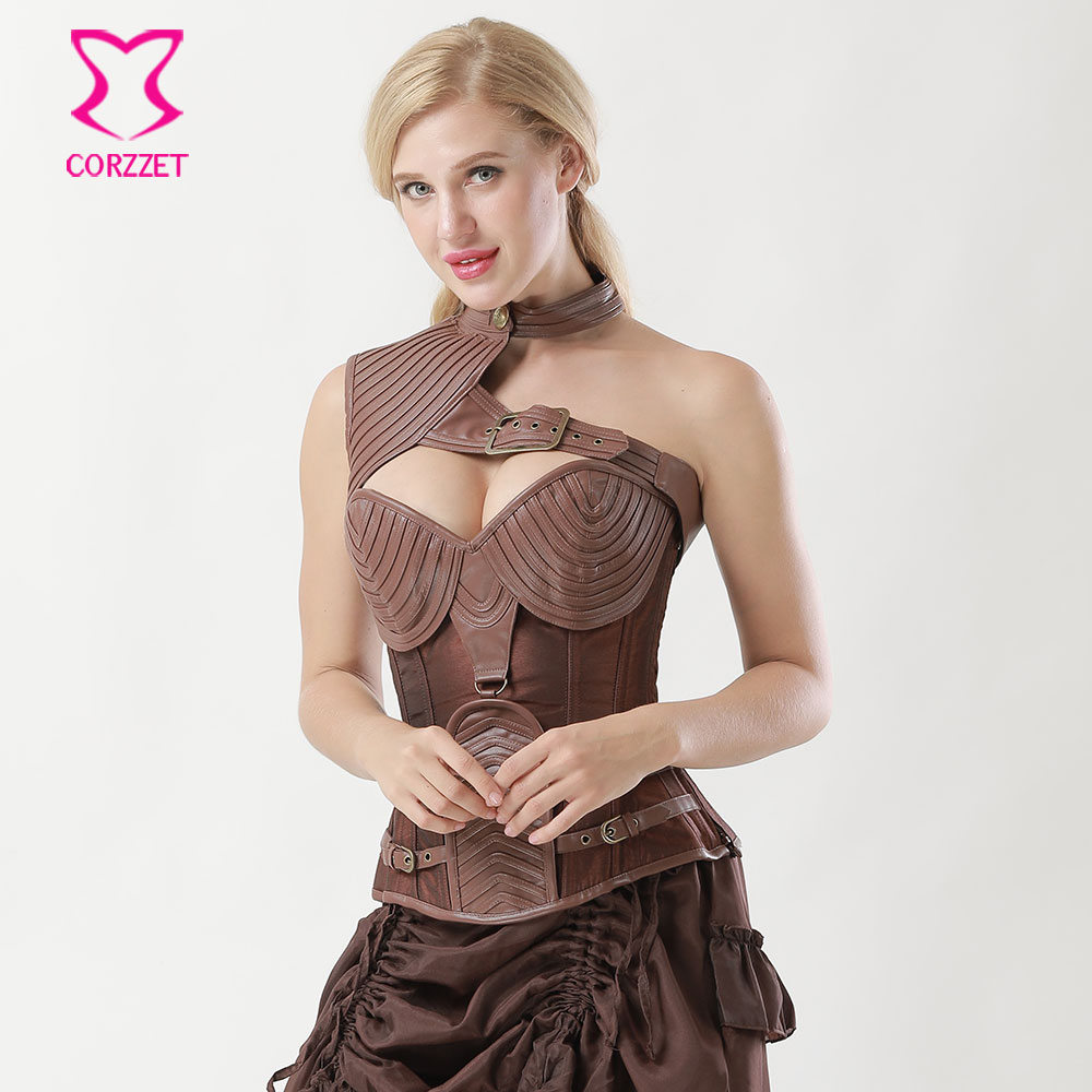 ac20d9d6fa 6XL Brown Leather Armor Steampunk Corset Steel Bone Plus Size Corsets And Bustiers  Vintage Gothic Clothing Corpetes E Corselet-in Bustiers   Corsets from ...