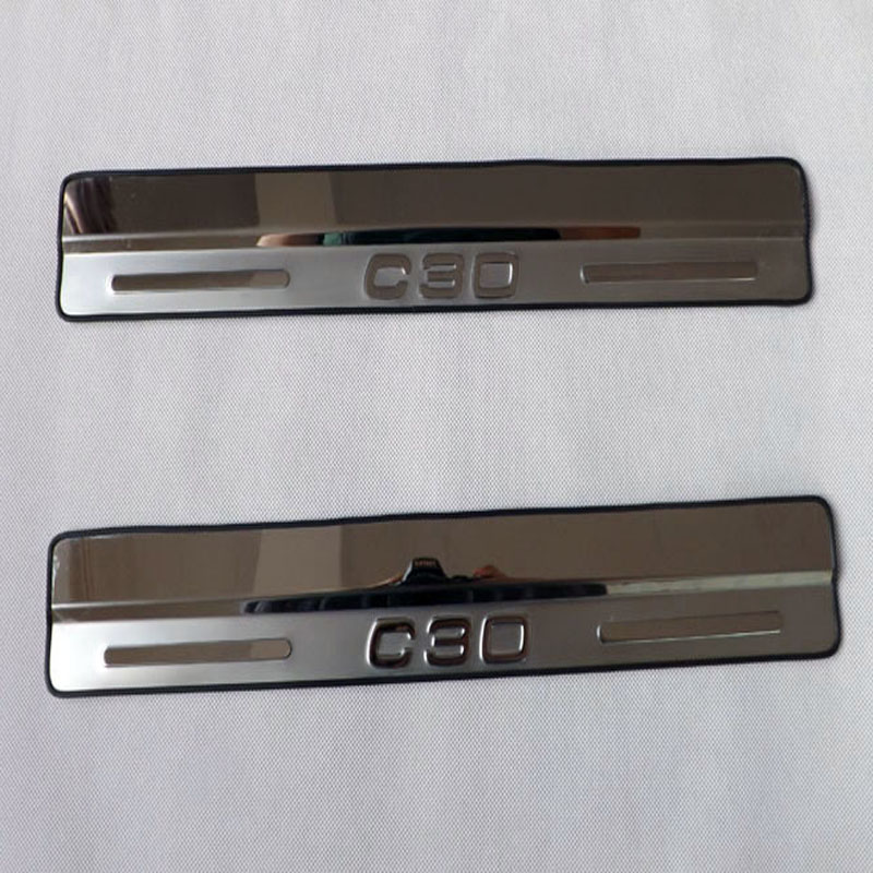 For Volvo C30 door sill scuff plates stainless steel door sill strip welcome pedal 2pcs/set Car accessories new arrival for lexus rx200t rx450h 2016 2pcs stainless steel chrome rear window sill decorative trims