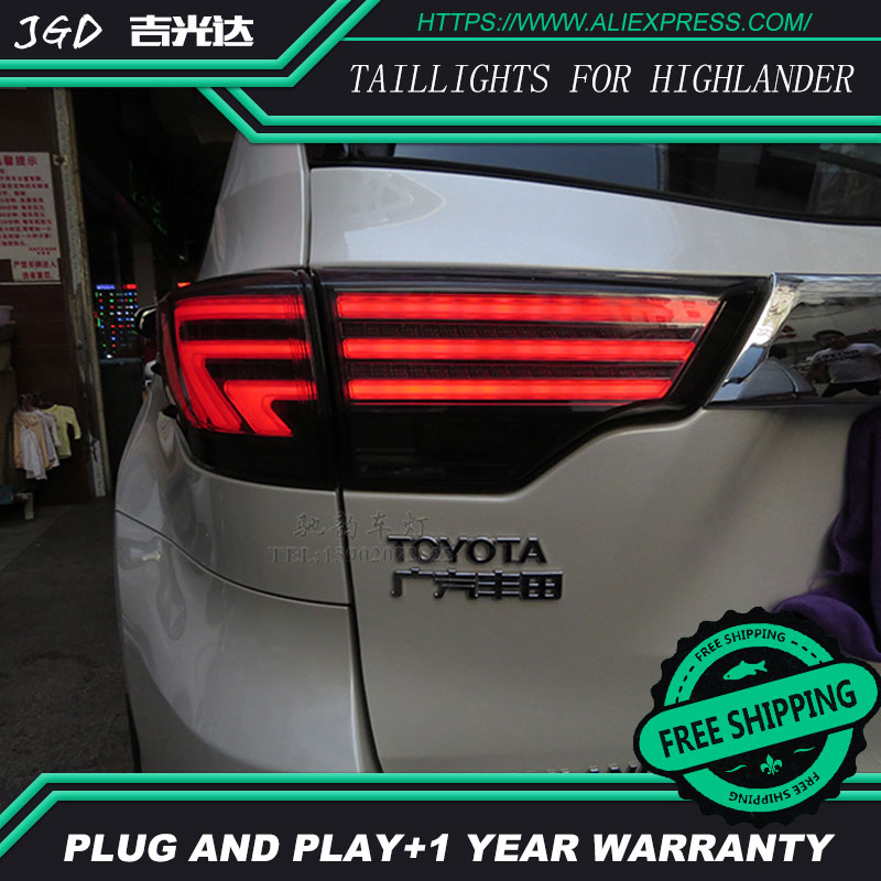 Car Styling tail lights for Toyota Highlander 2015 LED Tail Lamp rear trunk lamp cover drl+signal+brake+reverse car styling tail lights for toyota highlander 2012 led tail lamp rear trunk lamp cover drl signal brake reverse