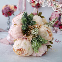 Cascading Bridal Bouquets De Mariage Roses Orchid Artificial Silk Flower Handmade Wedding Bouquet