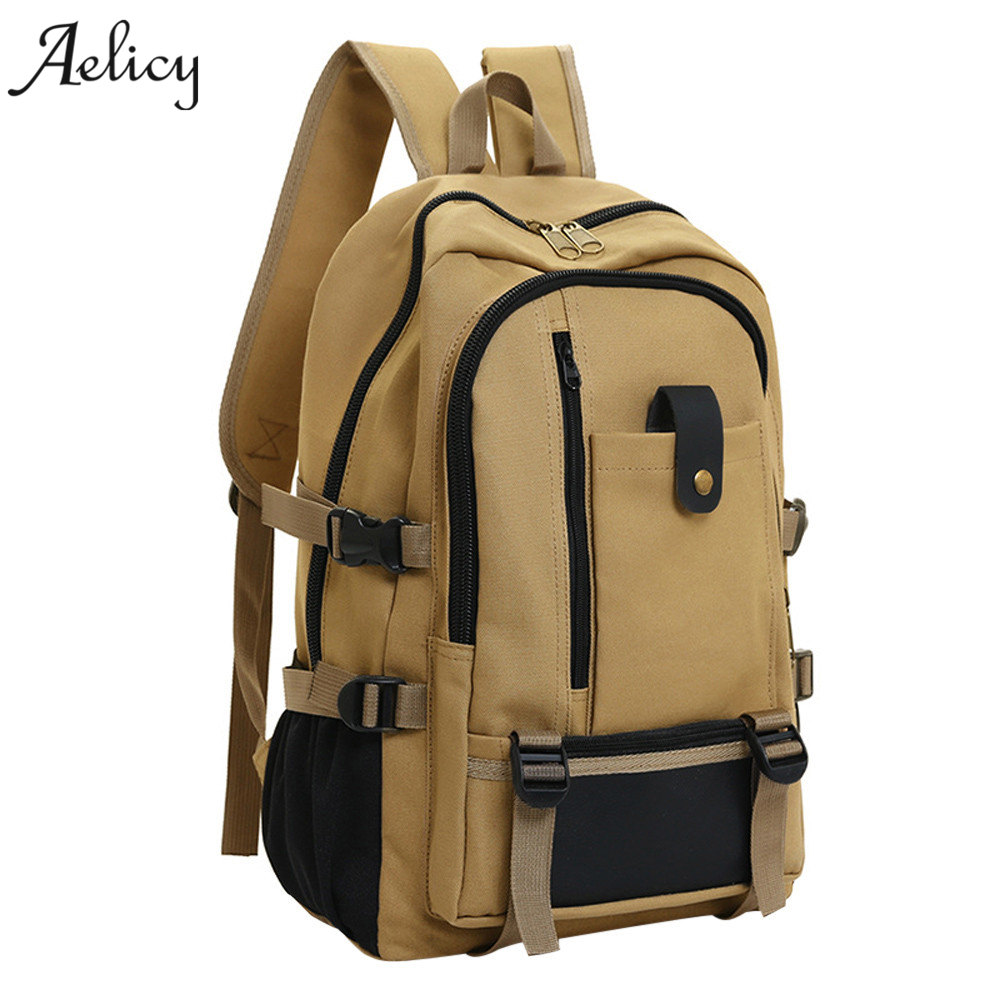 Aelicy Men Travel Backpack Medium Size Vintage Design Duffle Back Pack Casual Canvas Backpacks For Man Or Women Travel Rucksack