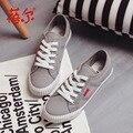 Весна зашнуровать женщин Вулканизируют Обувь красивые студентки холст белые туфли на платформе