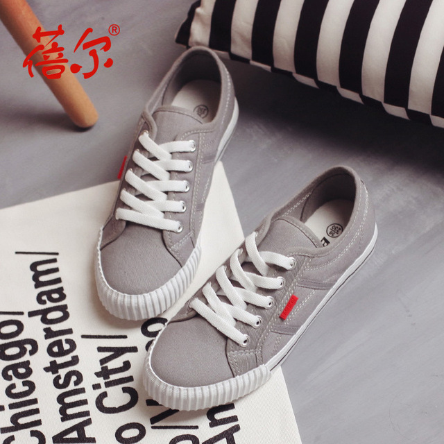 spring lace up women Vulcanize Shoes handsome female students canvas white platform shoes