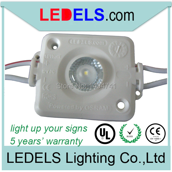 Free shipping 500pcs/Lot 120LM 1.6W led module with ul listed white led lights for signage box sign, Powered by NICHIA 1W led