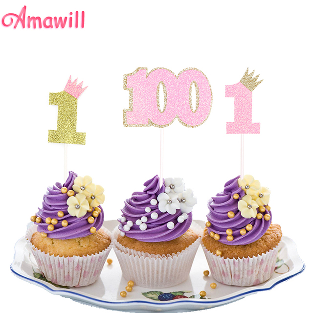Amawill 5pcs Cute Number 1 Cupcake Toppers Glitter Pink Gold 100