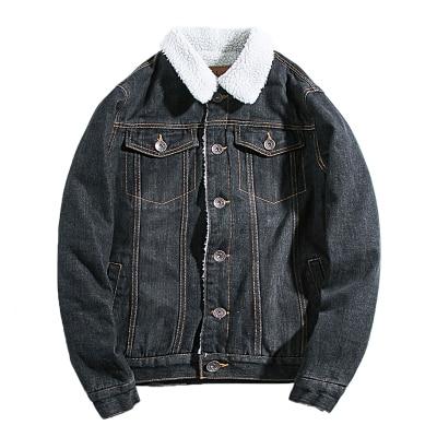 Plus velvet thickening couple lamb hair winter denim jacket male Korean version of the trend of cotton coat outside Slim
