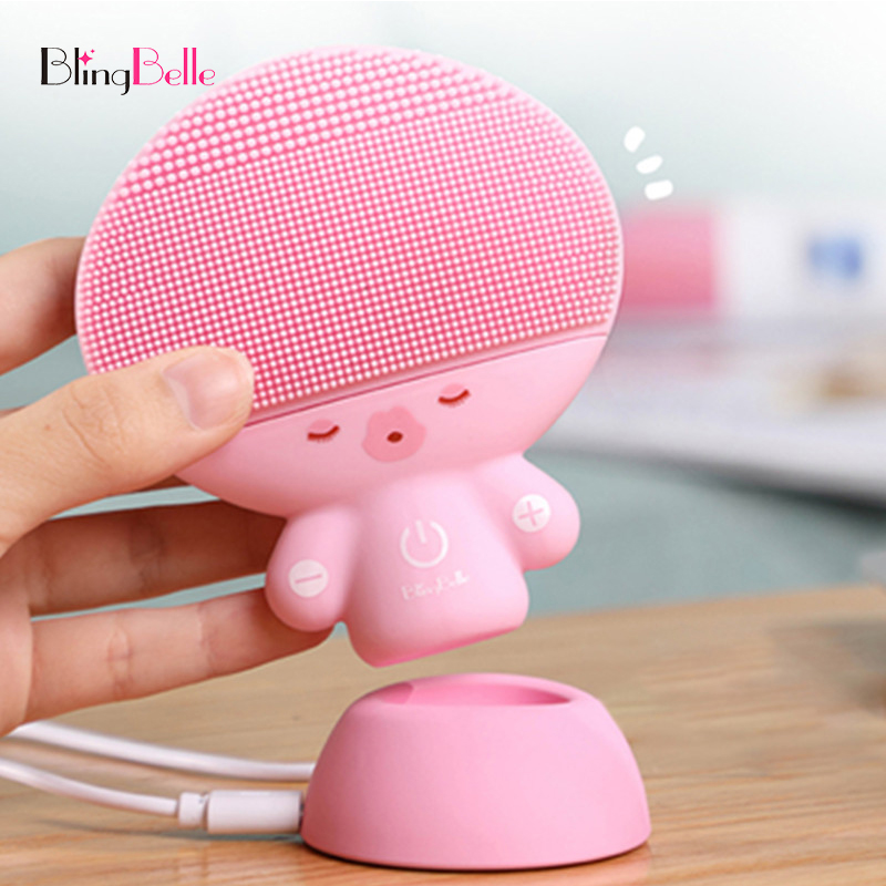 BlingBelle Electric Facial Cleaner Brush For Washing Double Size Wireless Charge Skin Care Soft Silicone Facial Cleansing Brush