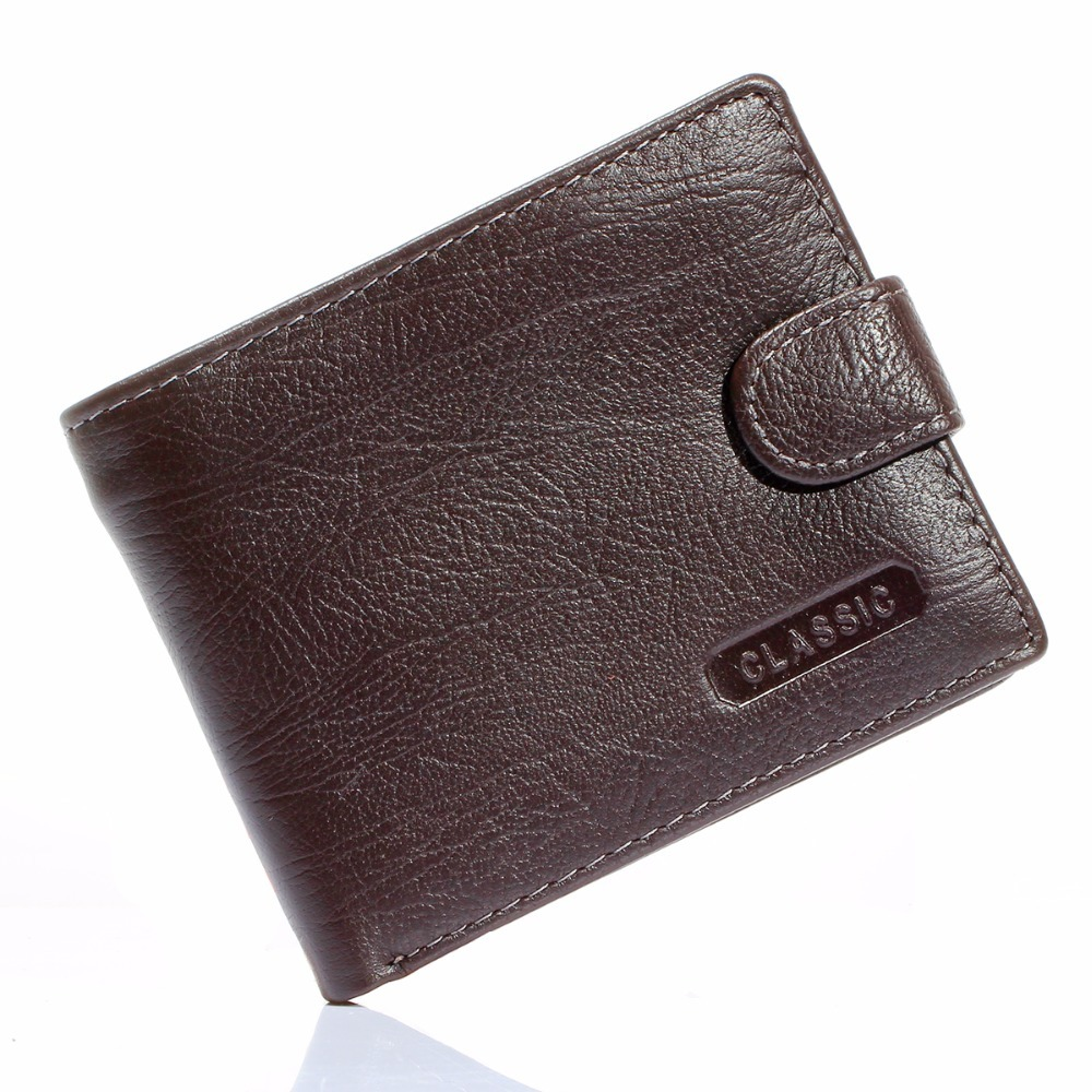 Wallet Men Genuine-Leather Clutch Coin-Purse Money-Pocket Bifold Brown Zipper ID Real