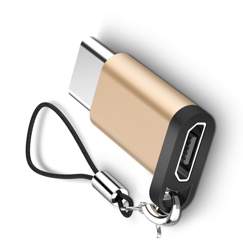 New Hot Type C Adapter Micro USB To USB-C Converter With Keychain For Samsung HTC MacBook Dropshipping