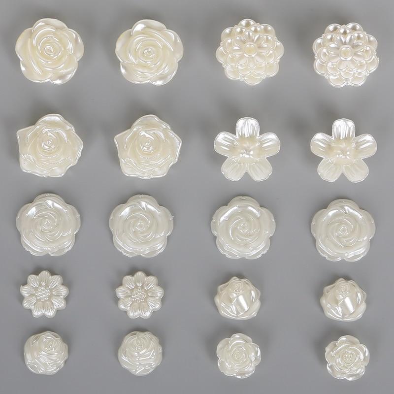 Лидер продаж цветок с плоской задней поверхностью кабошон имитация пластик ABS жемчуг бусины для DIY ювелирных изделий ручной работы ремесло решений