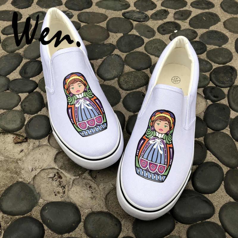 41b821111 Вэнь оригинальный для мужчин женщин слипоны обувь дизайн 2 цвета красочные  России Матрешка Белый Черный Холст