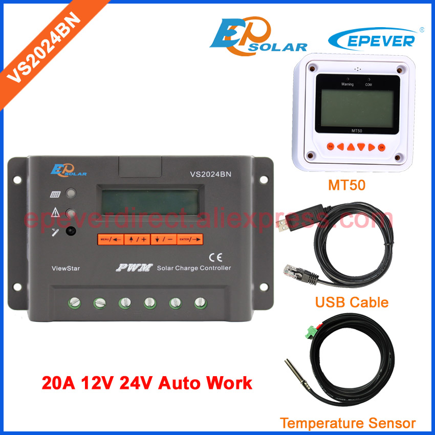 12v/24v 20A 20amp VS2024BN solar panel controller PWM USB+temperature sensor cable MT50 EPSolar/EPEVER lcd display screen epever solar charging controller with temperature sensor vs2024bn epsolar pwm controller 20a 12v 24v auto work
