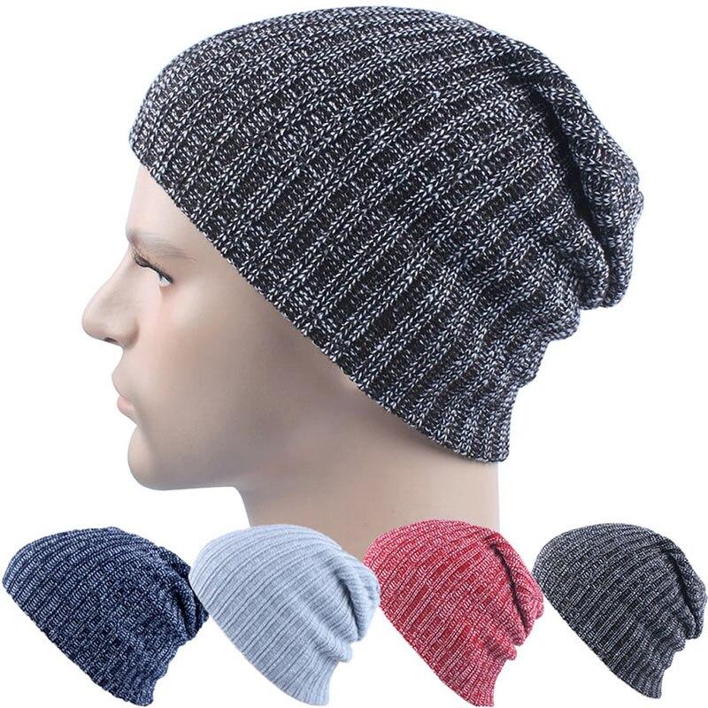 Women Winter Skull Men Knit Beanie Reversible Baggy Cap Warm Unisex Hip-hop Hat pentacle star warm skull beanie hip hop knit cap ski crochet cuff winter hat for women men