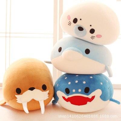 Cute dolphin Orca plush toy penguin sea lion ocean alliance foam particles children's puppet doll