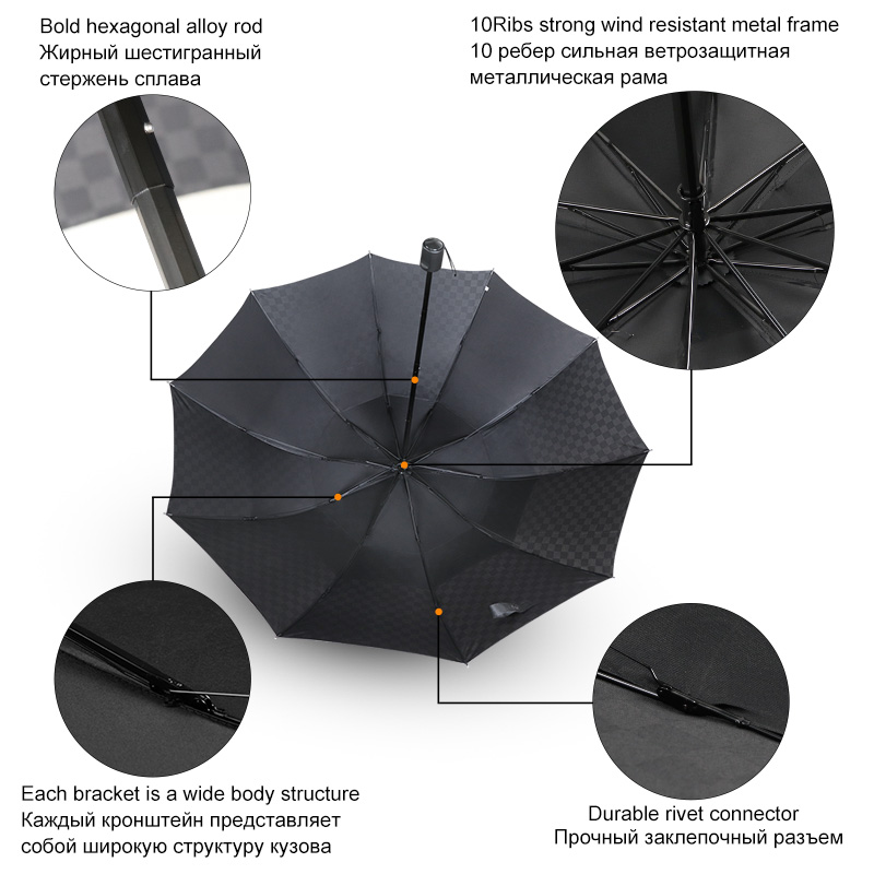Black Ladies Automatic Umbrella Curved Handle Wind Resistant Fibreglass Ribs