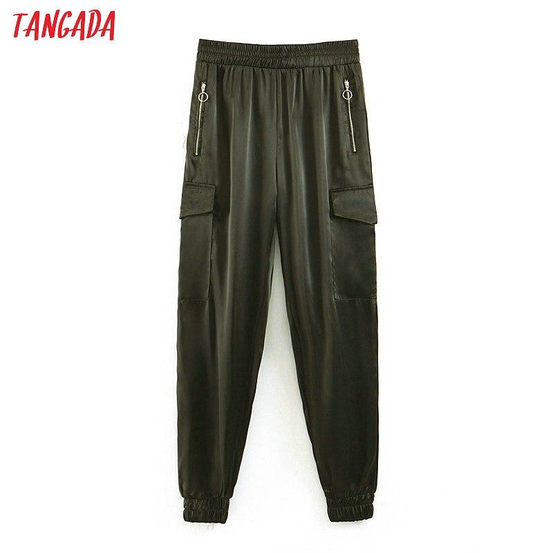 Tangada fashion women cargo   pants   black long trousers pockets elastic waist streetwear female pantalon   pants   &   capris   QB126