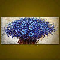 Astratta Coltello 3D Flower Pictures Home Decor Wall Art Dipinto A Mano Fiori Dipinti Ad Olio su Tela Dipinto A Mano Floreale Blu