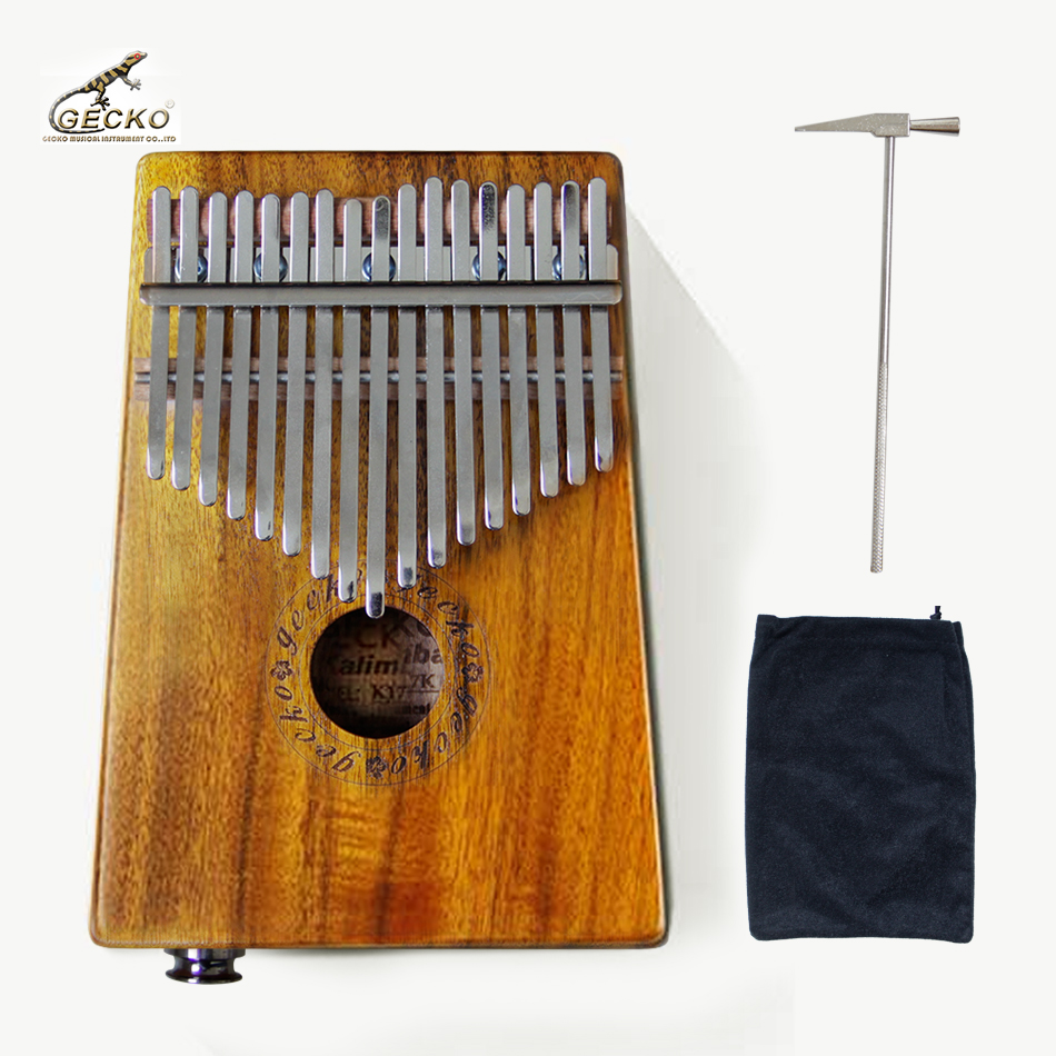 Gecko K17KEQ  17 key  Kalimba Solid KOA K17KEQ African Thumb Piano Finger Percussion Keyboard-in Parts & Accessories from Sports & Entertainment    1