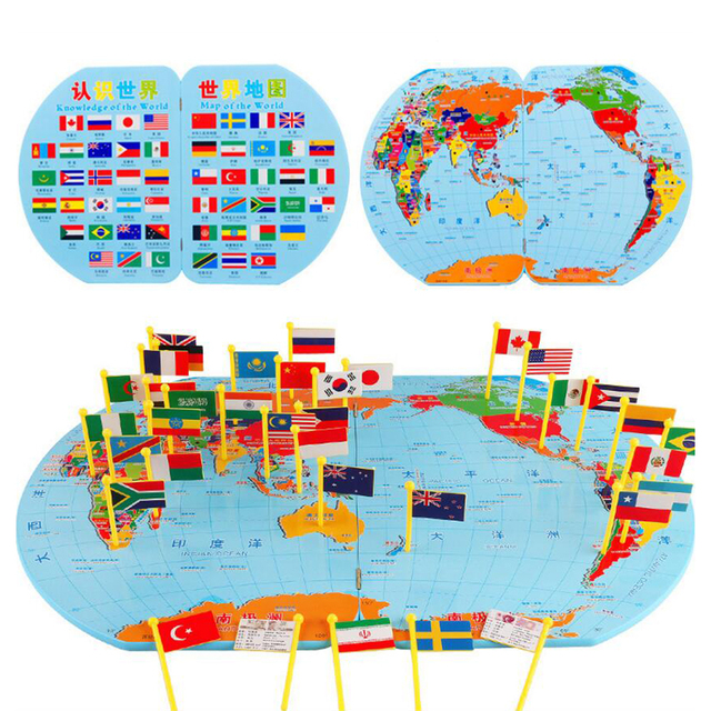Large size 3d wooden world map toys plastic flag stereo toy children large size 3d wooden world map toys plastic flag stereo toy children puzzle early learning toys gumiabroncs Gallery