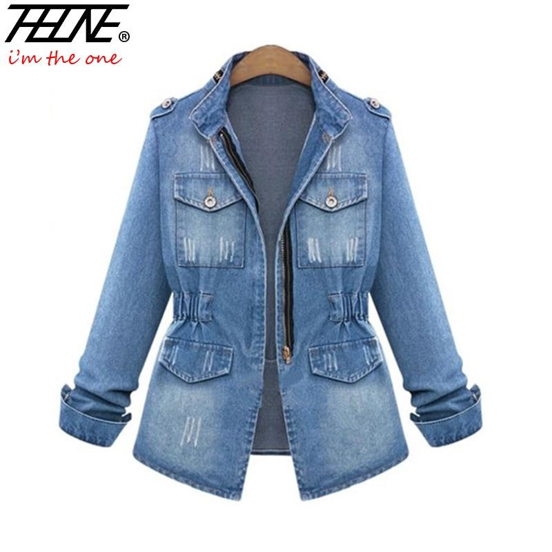 European Denim Jacket Women Jeans Coat Ripped Distressed ...